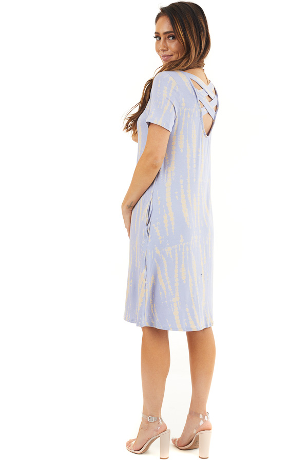 Light Periwinkle Short Tie Dye Dress with Criss Cross Back side full body