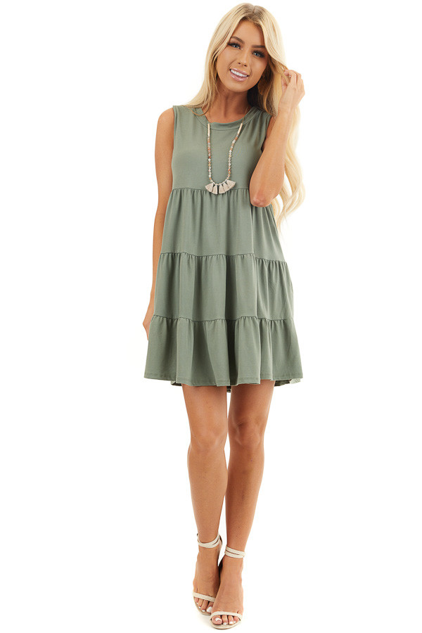 Sage Sleeveless Tiered High Neck Short Knit Dress front full body