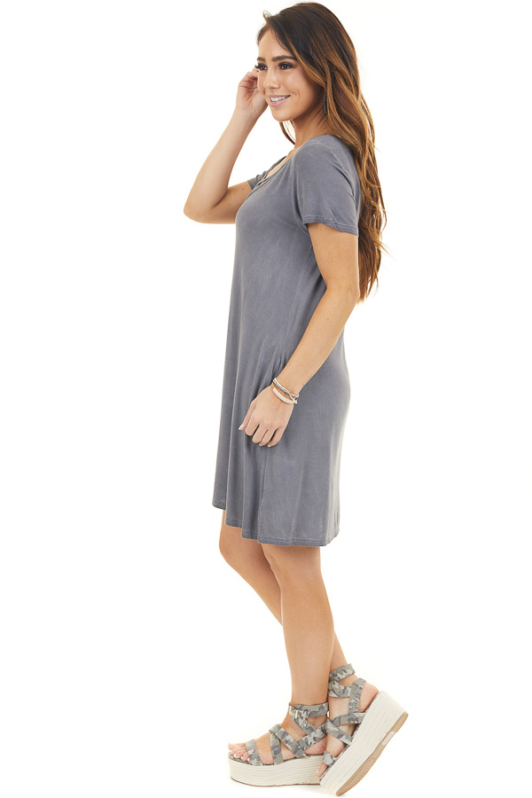 Charcoal Mineral Wash Dress with Criss Cross Neckline side full body