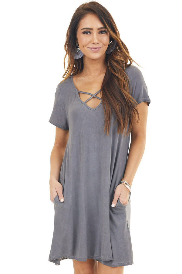 Charcoal Mineral Wash Dress with Criss Cross Neckline front close up