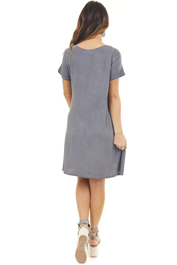 Charcoal Mineral Wash Dress with Criss Cross Neckline back full body