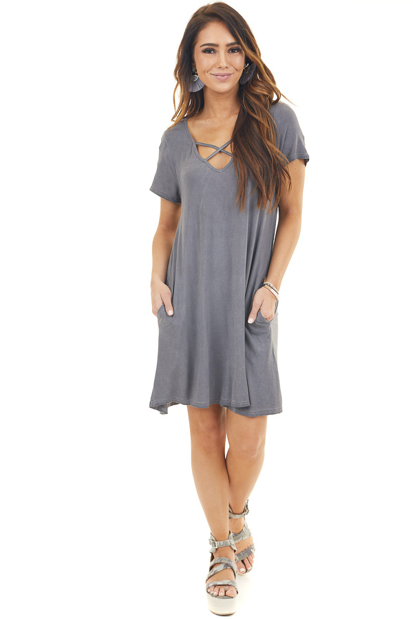 Charcoal Mineral Wash Dress with Criss Cross Neckline front full body