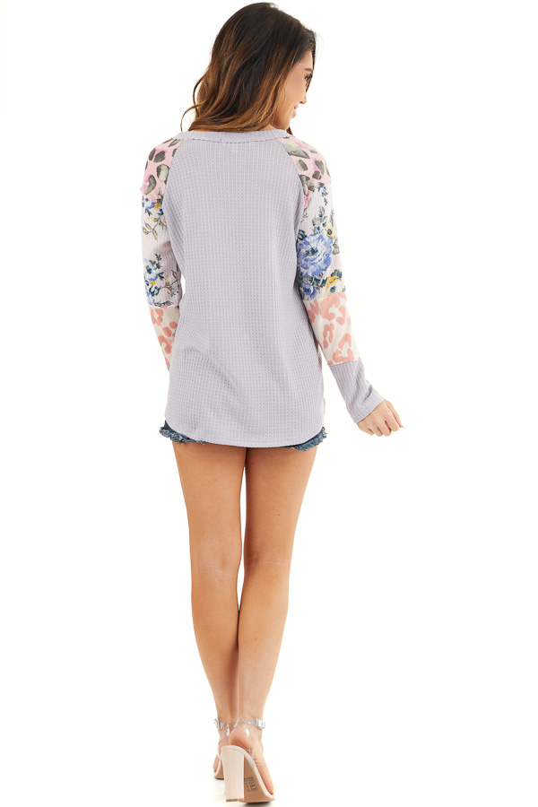 Pale Lavender Waffle Knit Top with Long Multiprint Sleeves back full body