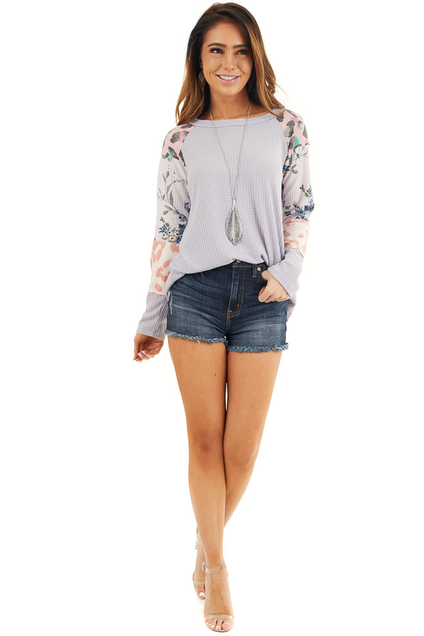 Pale Lavender Waffle Knit Top with Long Multiprint Sleeves front full body