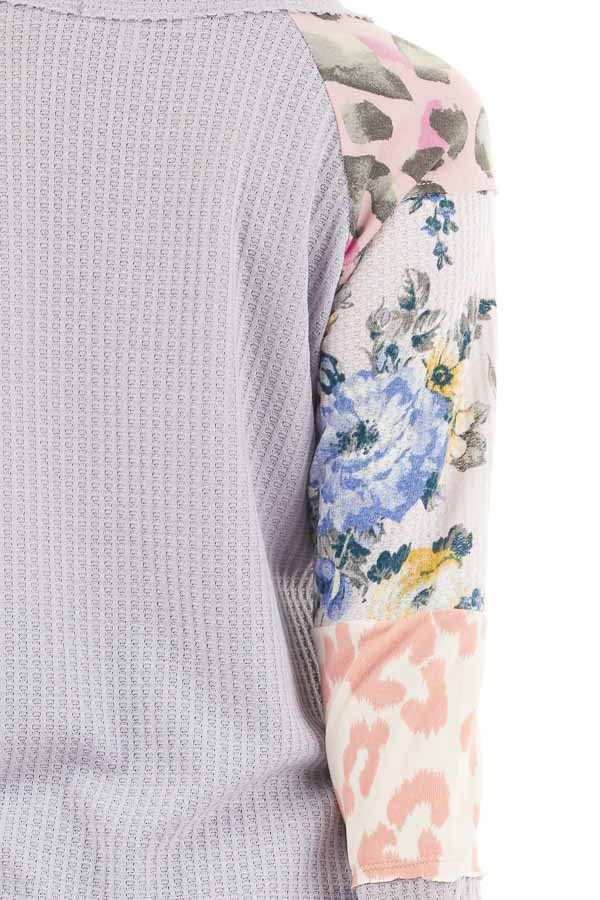 Pale Lavender Waffle Knit Top with Long Multiprint Sleeves detail