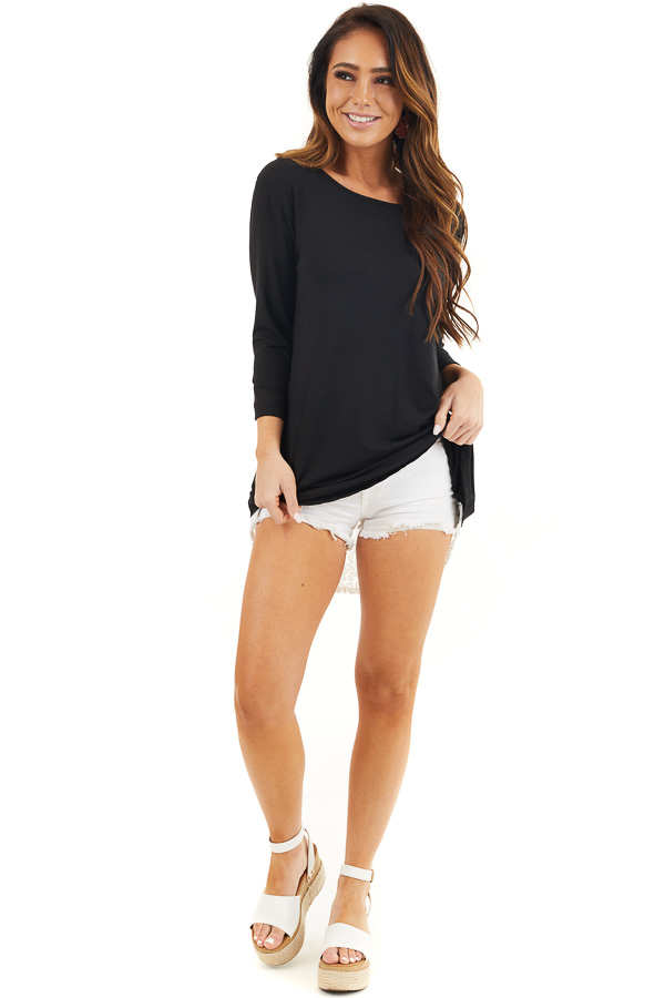 Black 3/4 Sleeve Knit Top with Sheer Lace Back front full body