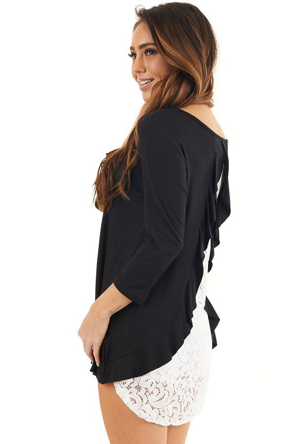 Black 3/4 Sleeve Knit Top with Sheer Lace Back back close up