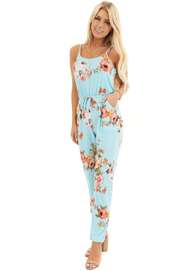 Turquoise Floral Sleeveless Jumpsuit with Cinched Waist front full body