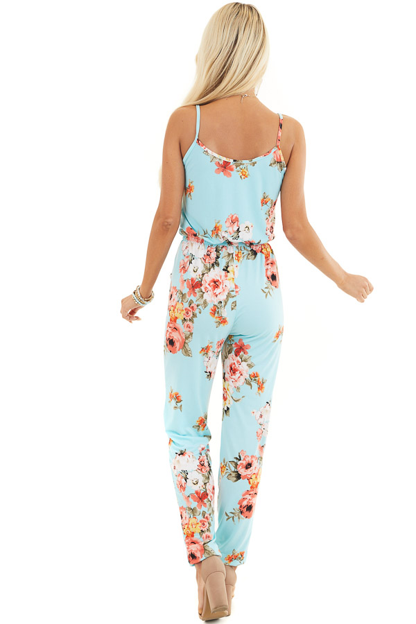 Turquoise Floral Sleeveless Jumpsuit with Cinched Waist back full body
