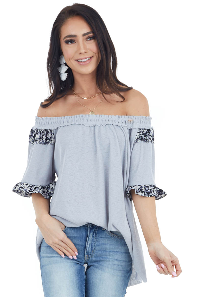 Stone Grey Off the Shoulder Top with Printed Ruffle Details