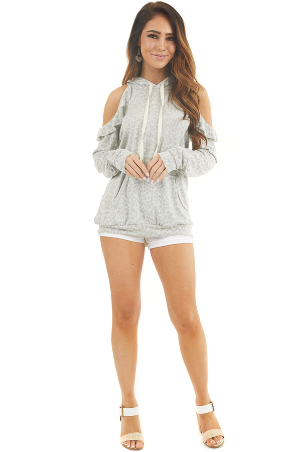 Ash Grey Leopard Print Knit Top with Cold Shoulders and Hood front full body