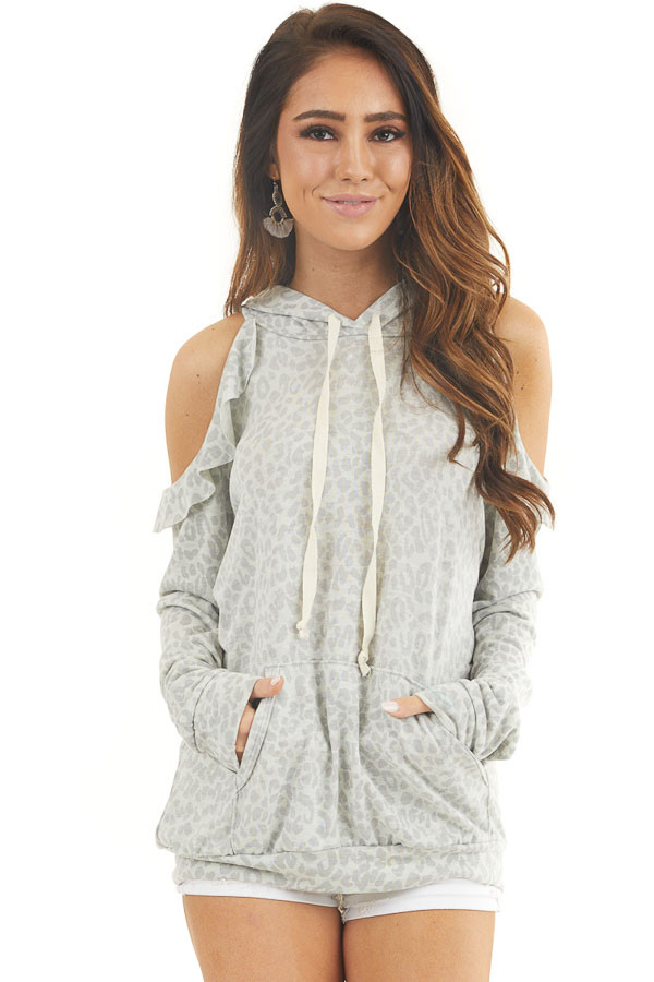 Ash Grey Leopard Print Knit Top with Cold Shoulders and Hood front close up