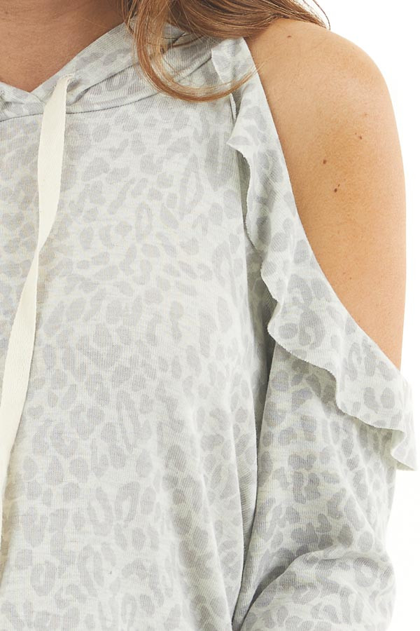 Ash Grey Leopard Print Knit Top with Cold Shoulders and Hood detail
