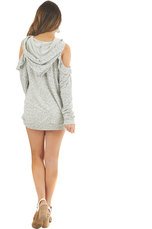 Ash Grey Leopard Print Knit Top with Cold Shoulders and Hood back full body