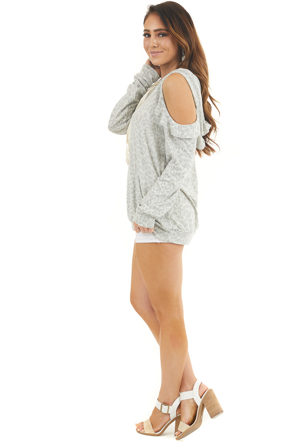 Ash Grey Leopard Print Knit Top with Cold Shoulders and Hood side full body