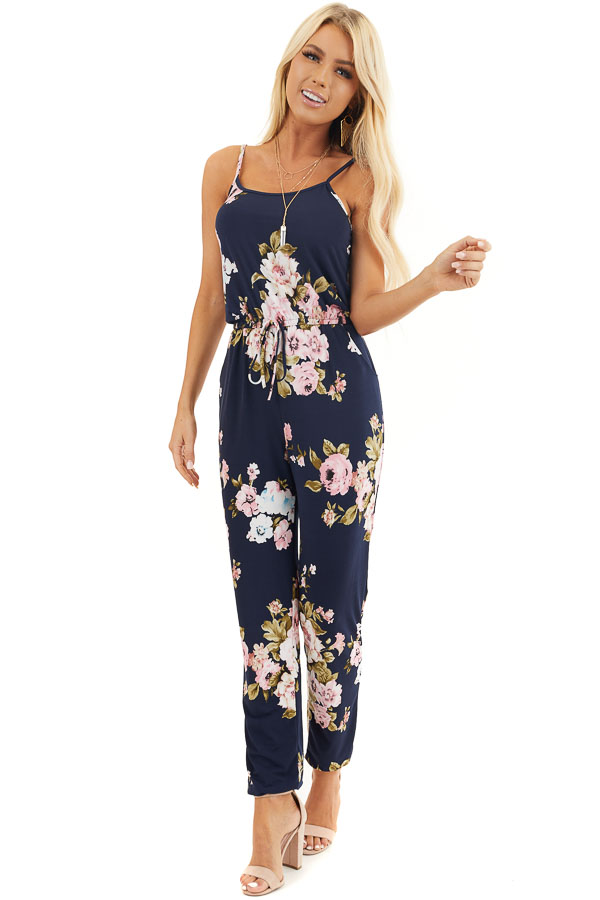 Navy Floral Sleeveless Jumpsuit with Cinched Waist front full body