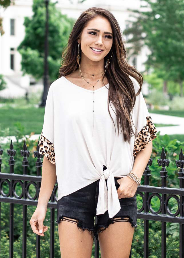 Ivory Front Knot Knit Top with Leopard Print Ruffle Sleeves