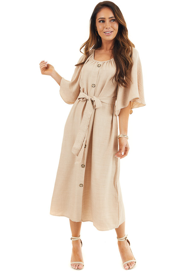 Beige Short Sleeve Button Down Midi Dress with Tie Detail front full body