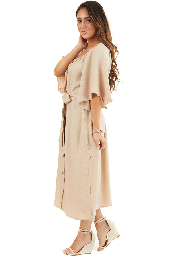 Beige Short Sleeve Button Down Midi Dress with Tie Detail side full body