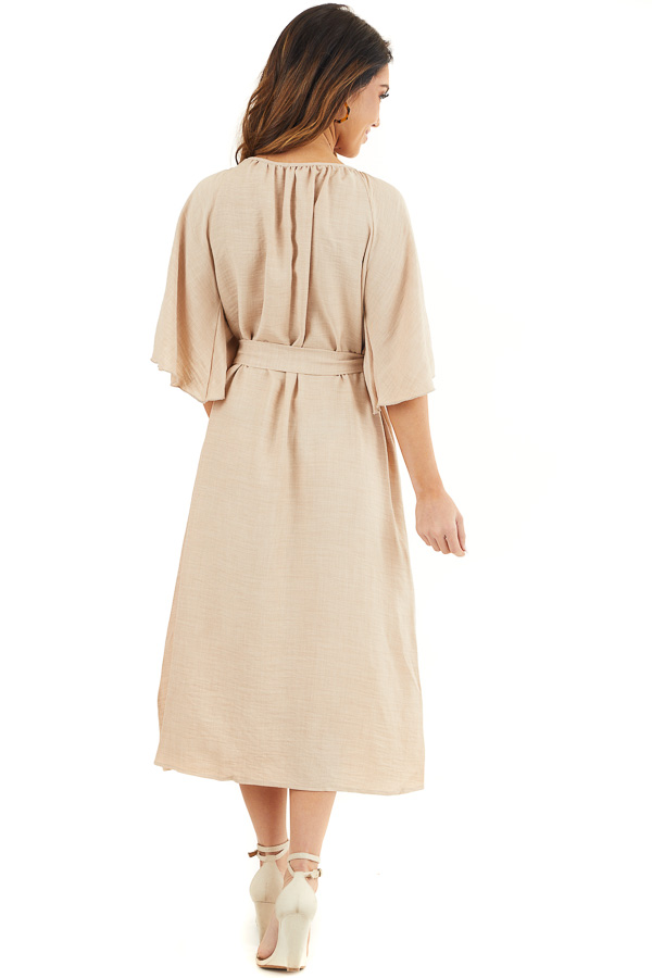 Beige Short Sleeve Button Down Midi Dress with Tie Detail back full body