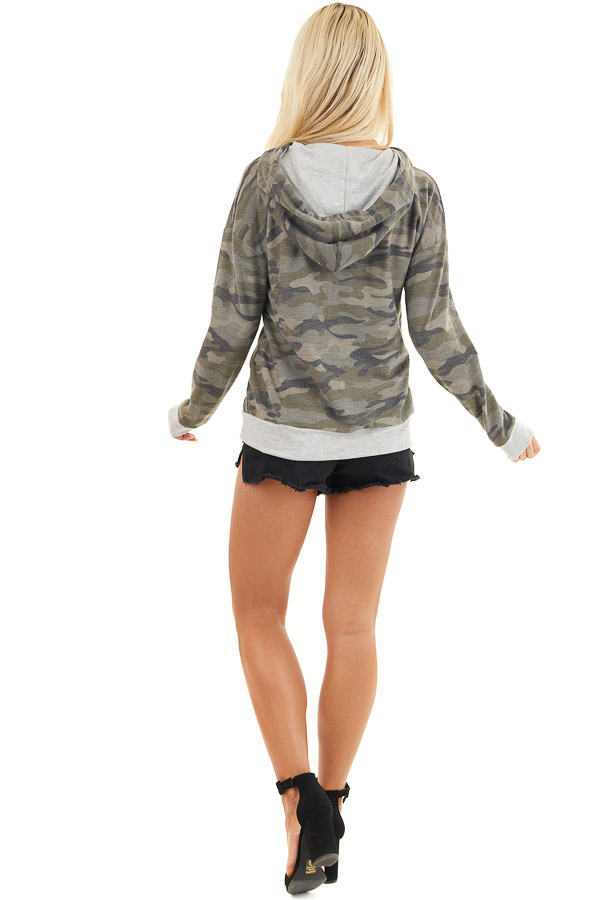 Olive Camo Long Sleeve Pullover Hoodie with Front Pocket back full body