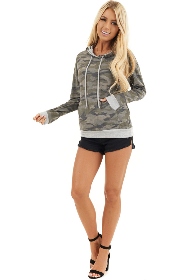 Olive Camo Long Sleeve Pullover Hoodie with Front Pocket front full body