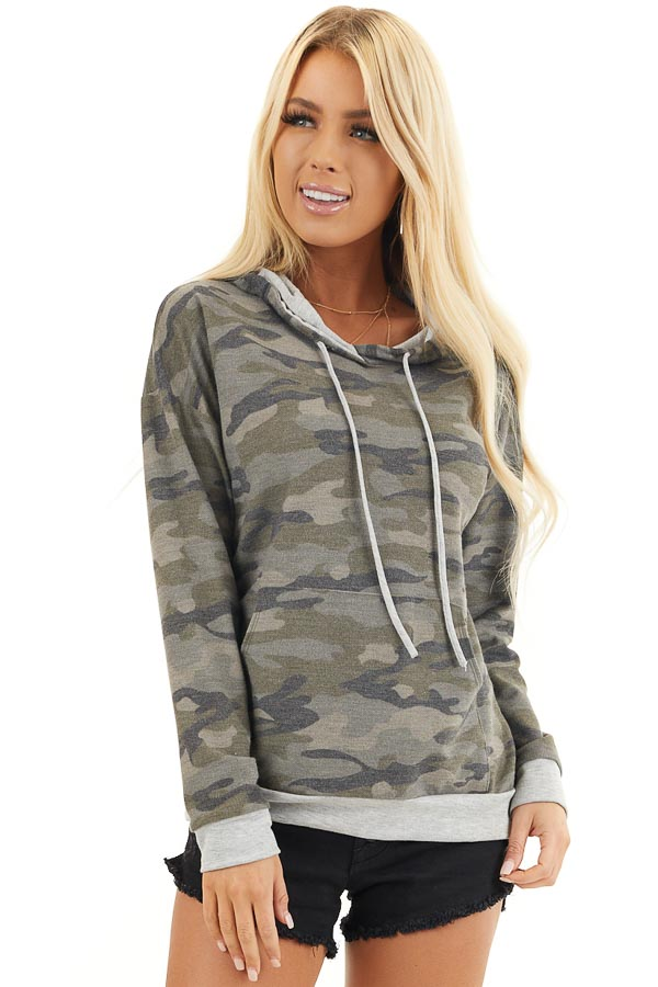 Olive Camo Long Sleeve Pullover Hoodie with Front Pocket front close up