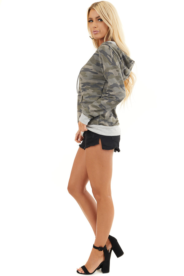 Olive Camo Long Sleeve Pullover Hoodie with Front Pocket side full body