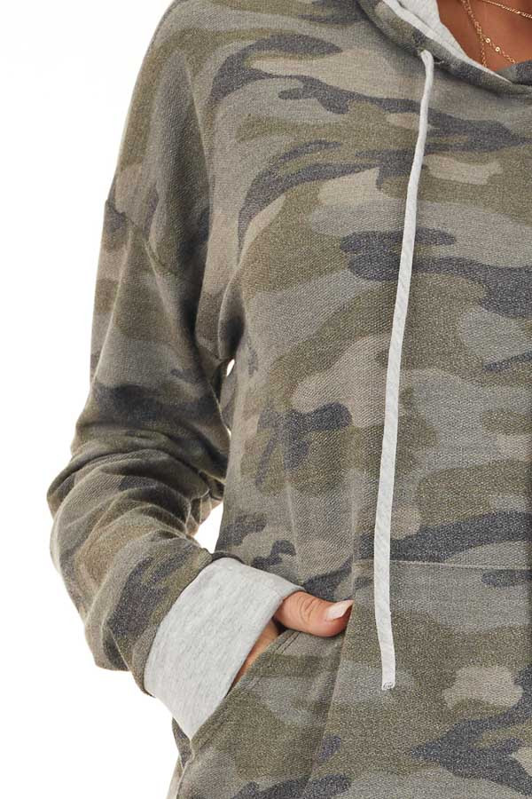 Olive Camo Long Sleeve Pullover Hoodie with Front Pocket detail