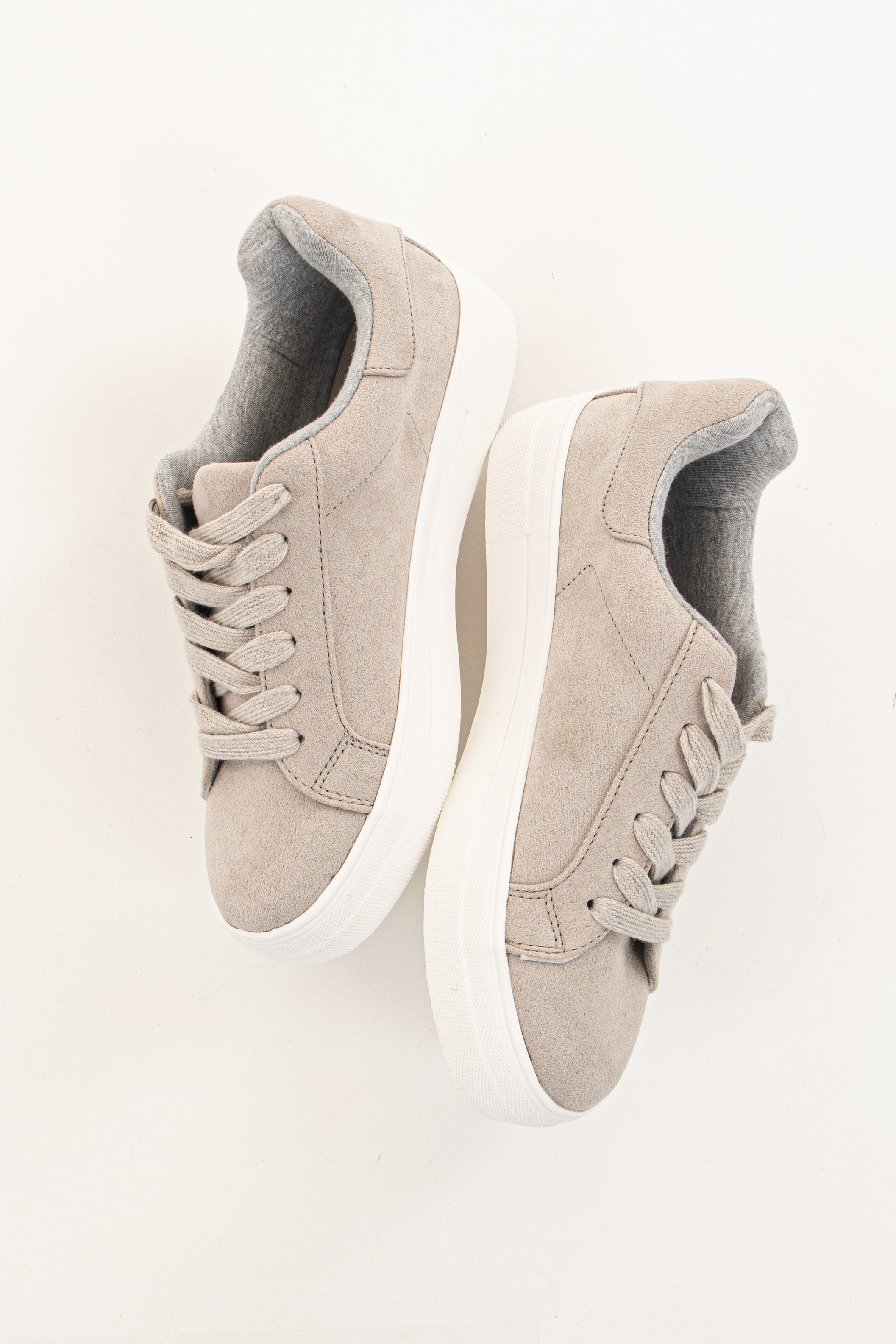 Dove Grey Faux Suede Lace Up Sneakers with Rubber Soles