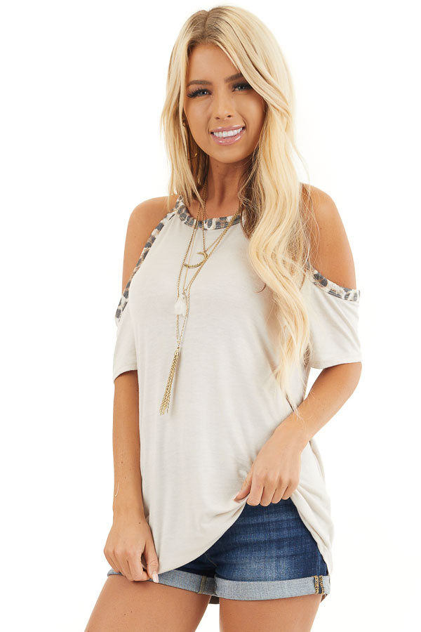 Cream Cold Shoulder Tee with Leopard Print Contrast front close up