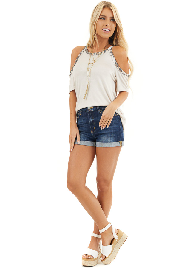 Cream Cold Shoulder Tee with Leopard Print Contrast front full body