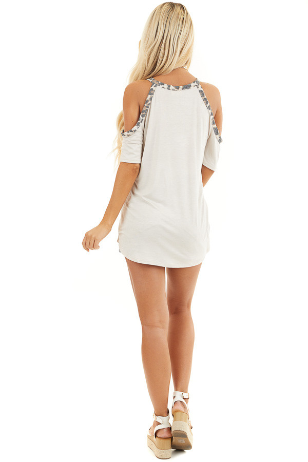 Cream Cold Shoulder Tee with Leopard Print Contrast back full body