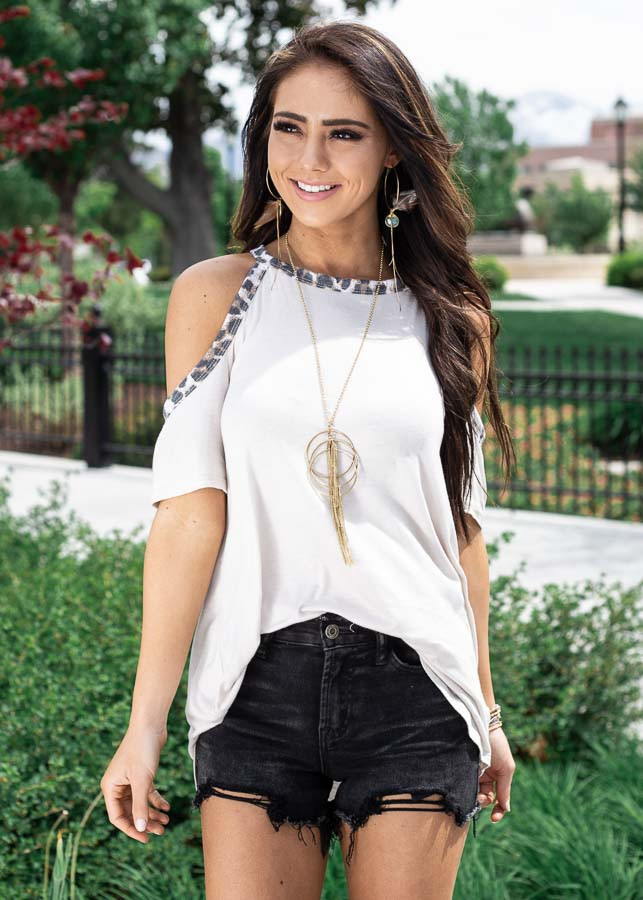 Cream Cold Shoulder Tee with Leopard Print Contrast
