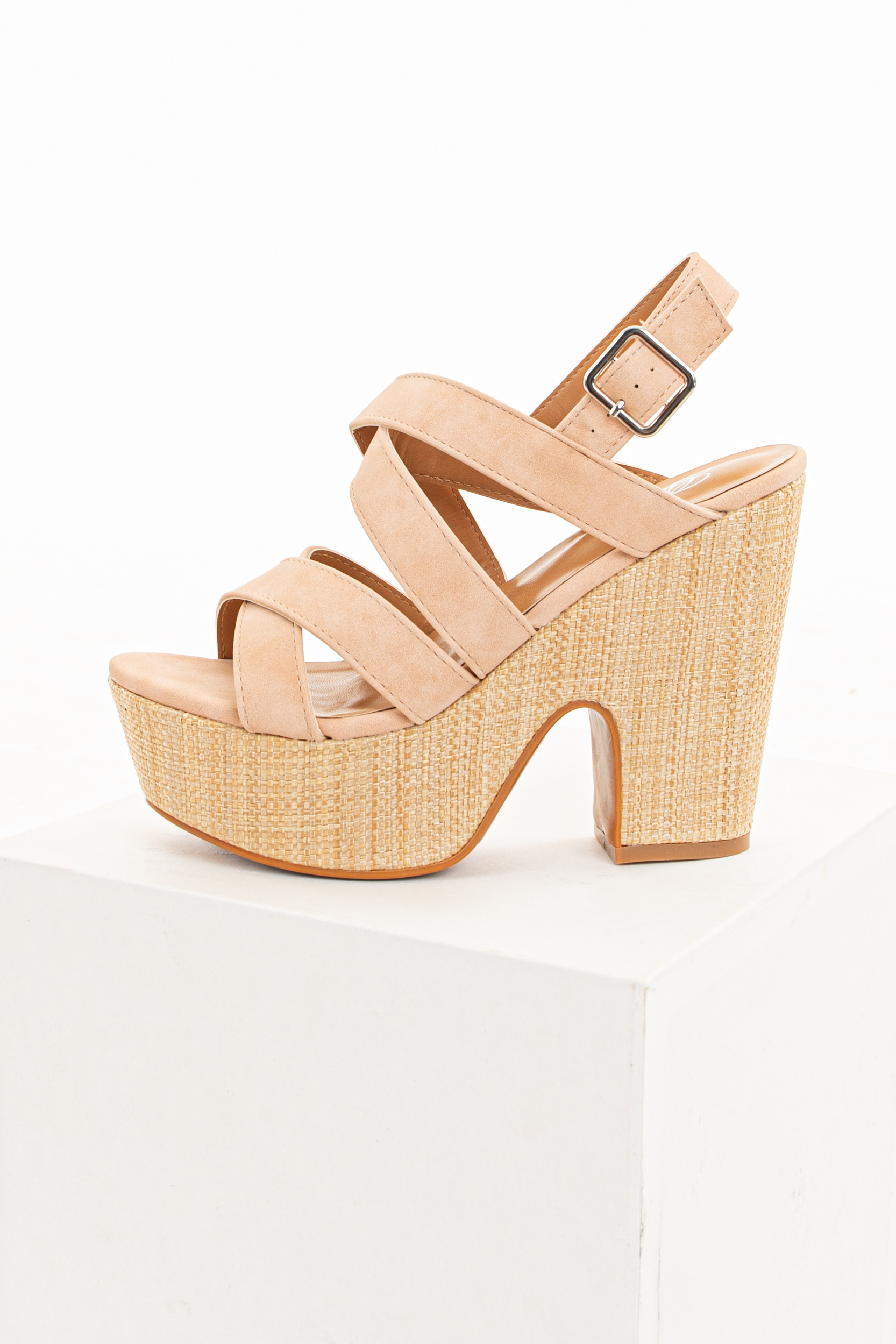 Dusty Blush Strappy Heeled Sandals with Wicker Detail