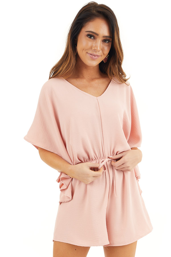Dusty Blush Short Sleeve Romper with V Neck and Waist Tie front close up