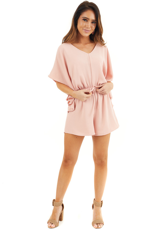 Dusty Blush Short Sleeve Romper with V Neck and Waist Tie front full body