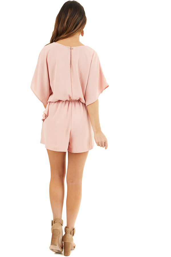 Dusty Blush Short Sleeve Romper with V Neck and Waist Tie back full body