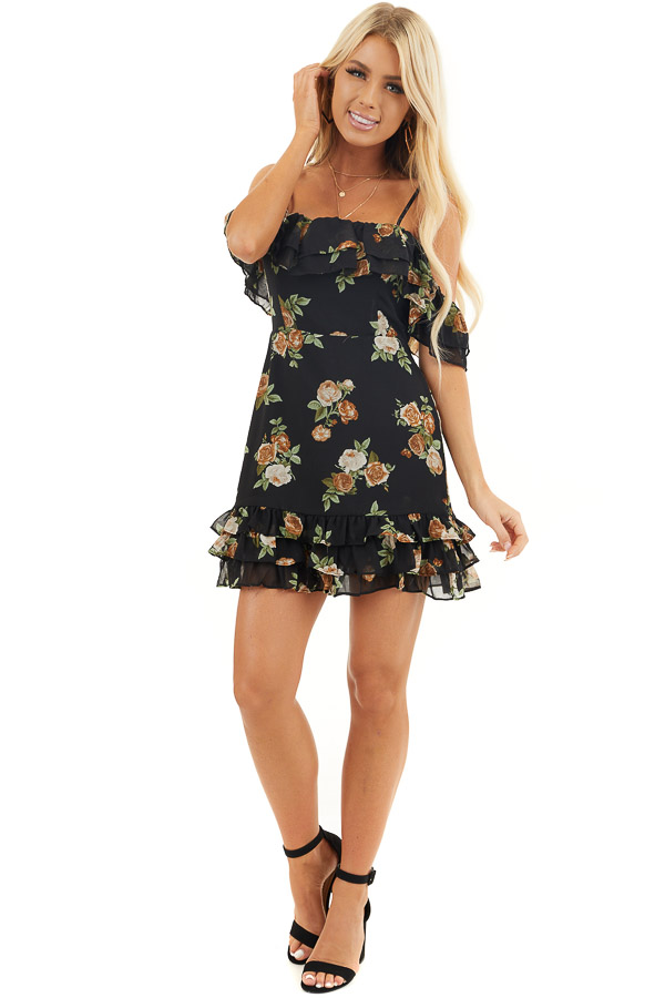 Black Floral Cold Shoulder Mini Dress with Ruffle Details front full body
