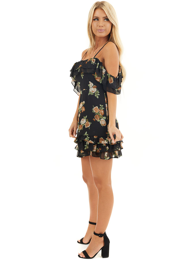 Black Floral Cold Shoulder Mini Dress with Ruffle Details side full body
