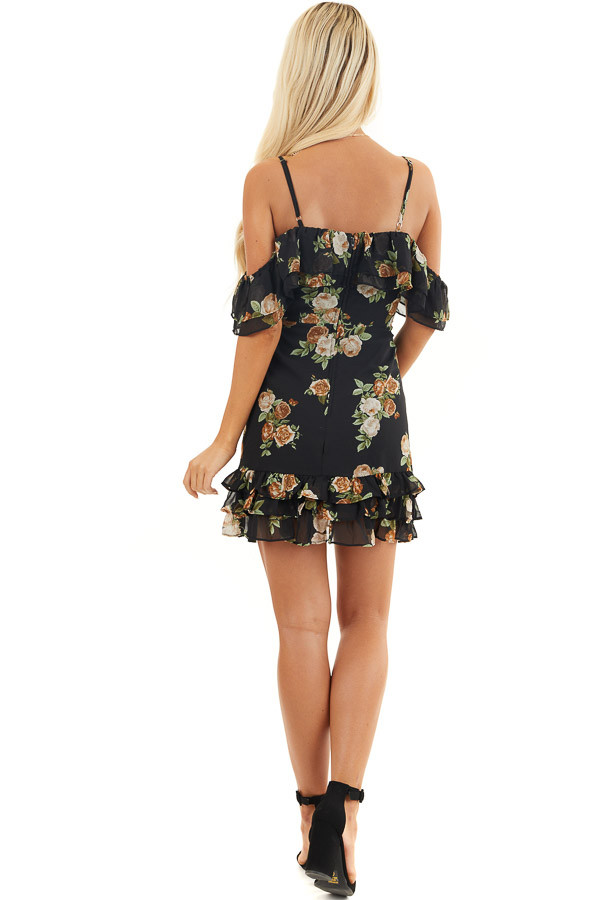 Black Floral Cold Shoulder Mini Dress with Ruffle Details back full body