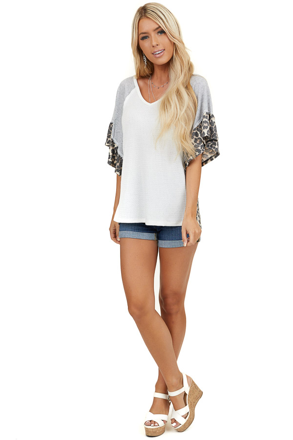 Ivory Waffle Knit Top with Grey and Leopard Ruffle Sleeves