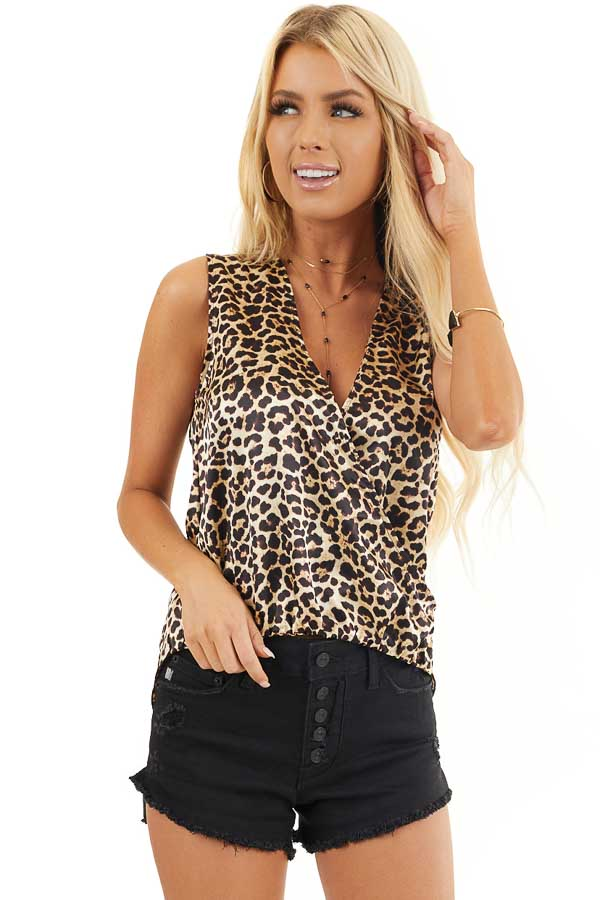 Cream Leopard Print Silky Surplice Tank Top with Bubble Hem front close up
