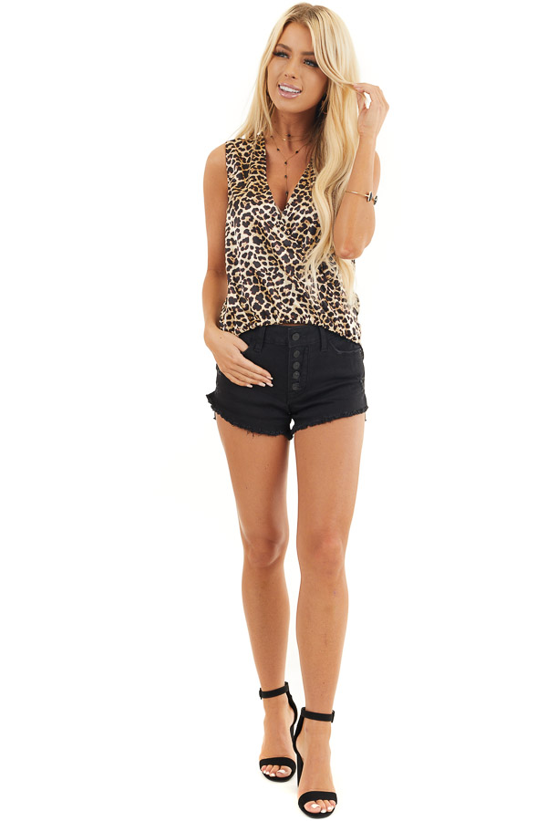 Cream Leopard Print Silky Surplice Tank Top with Bubble Hem front full body