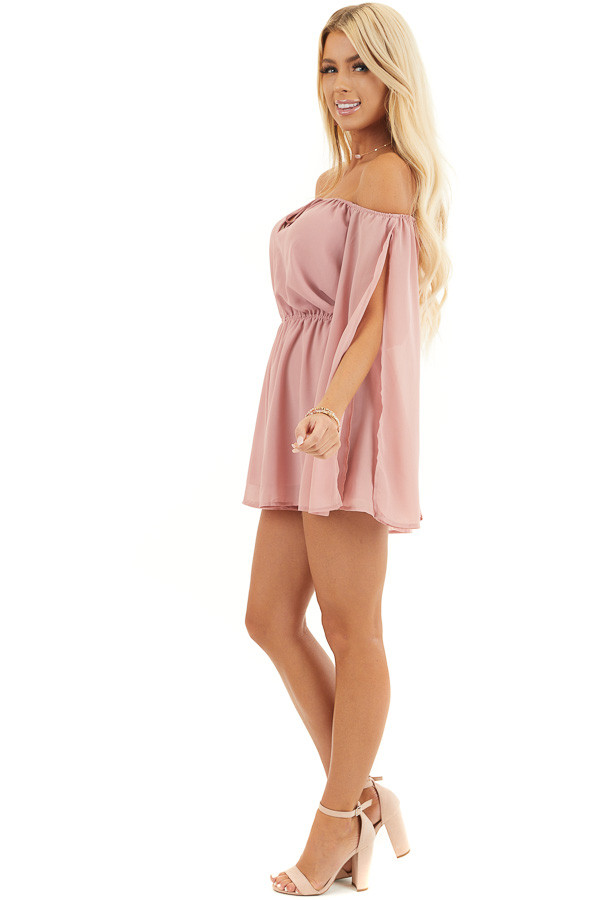 Dusty Blush Off Shoulder Woven Romper with Long Sleeves side full body