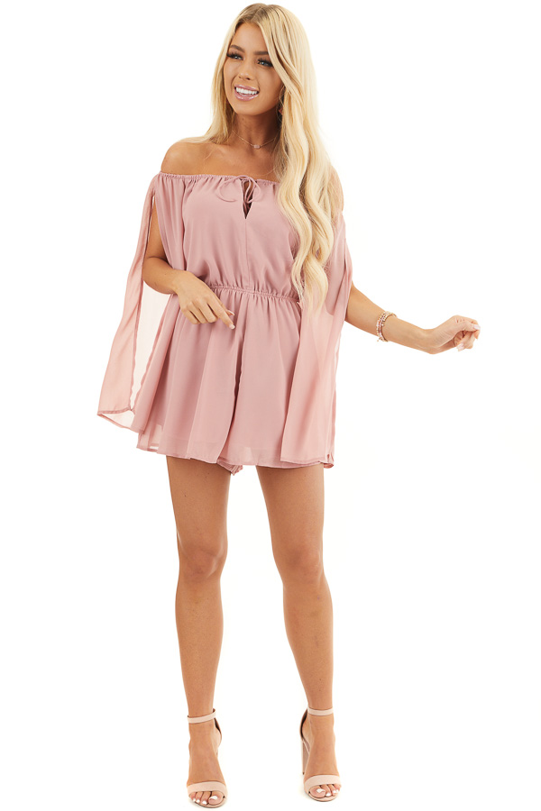 Dusty Blush Off Shoulder Woven Romper with Long Sleeves front full body