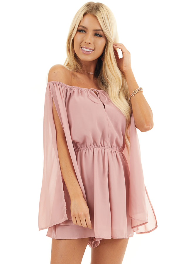 Dusty Blush Off Shoulder Woven Romper with Long Sleeves front close up