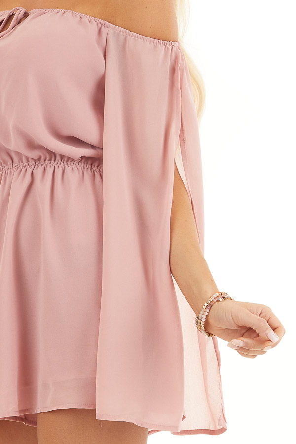 Dusty Blush Off Shoulder Woven Romper with Long Sleeves detail