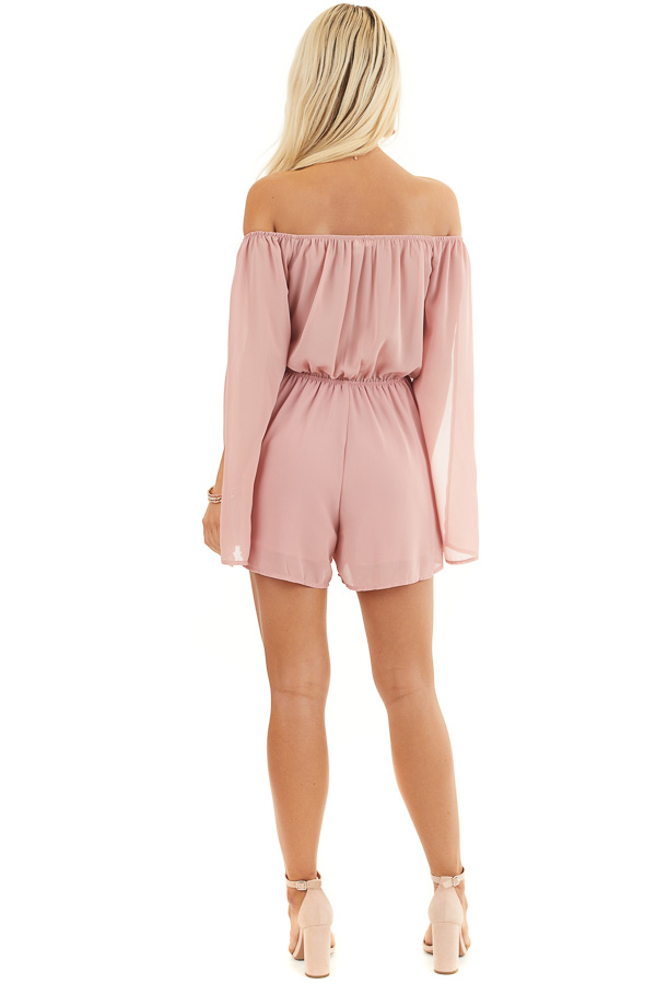 Dusty Blush Off Shoulder Woven Romper with Long Sleeves back full body