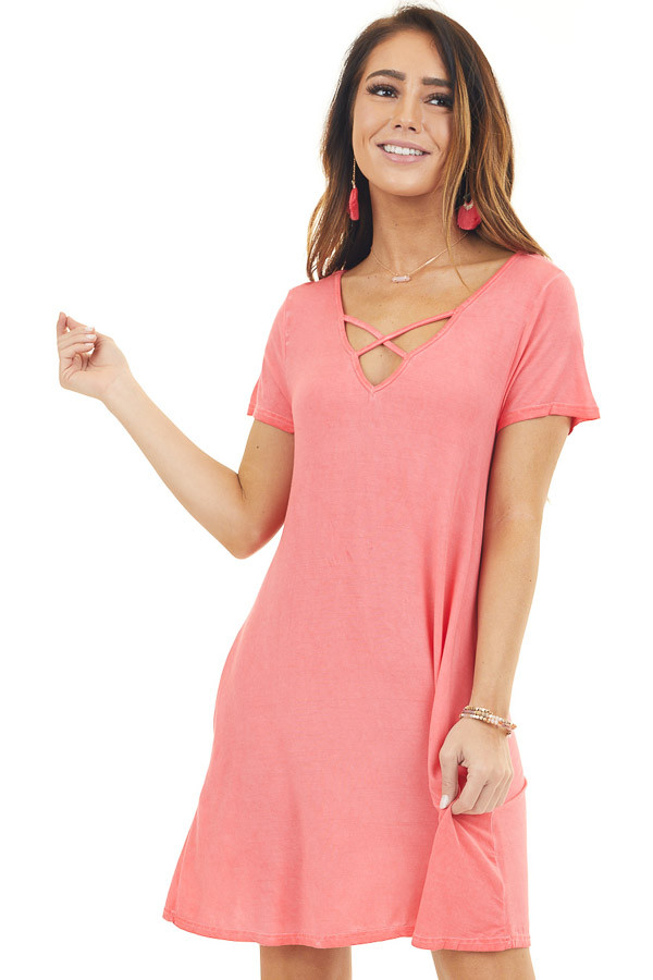 Bright Coral Mineral Wash Dress with Criss Cross Neckline front close up